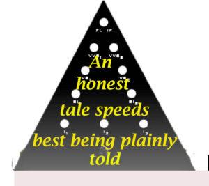An honest tale speeds best being plainly told