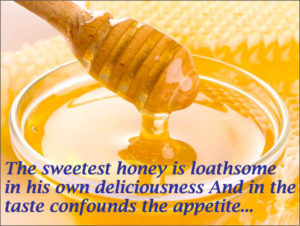 The seetest honey is loathsome in its own deliciousness