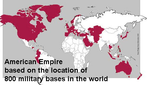 map of the american empire based on the numnber of military bases established worldwide