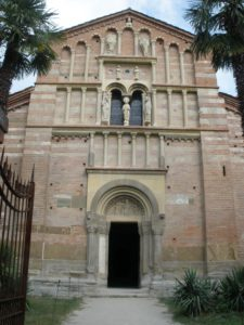 Facade Abbey of Vezzolano, Italy connected to a quote There is a history in all men's lives, Figuring the nature of the times deceased; The which observed, a man may prophesy, With a near aim, of the main chance of things As yet not come to life
