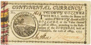 20 dollar bill issued during the war for american independence