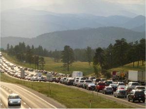 image of gigantic traffuc jam for 90 miles