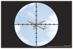 """Image of plane in a cross-hair for Shakespeare quotation on truth, """"... he will lie, sir, with such volubility, that you would think truth were a fool"""" from all's well that ends well"""