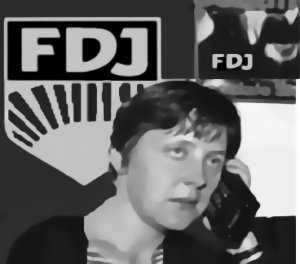 Angela Merkel as a communisat youth leader of the DDR just before the fall of the Berlin Wall. Illustration of sonnet lines, When forty winters shall besiege thy brow, And dig deep trenches in thy beauty's field...