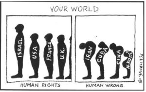 cartoon on human rights & wrongs in the context of a Shakespeare quote on the winter of discontent and the arab springs