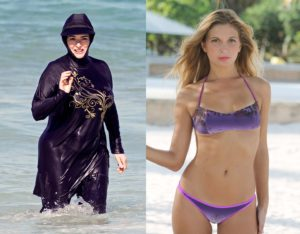 "Comparison bwtween burkini and bikini. Illustration to Shakespeare quote, ""Costly thy habit as thy purse can buy, but not expressed in fancy, rich, not gaudy."""