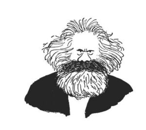 A cartoon of Karl Marx for the blog titled Was Marx a Marxist?