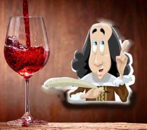 A glass of red-wine and a Sjakespeare cartoon